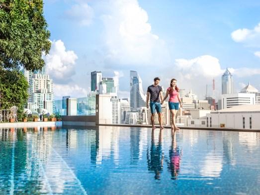 Novotel Bangkok swimming pool with skyline view