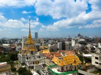 Bangkok skyline and temple a location in Thailand for video production