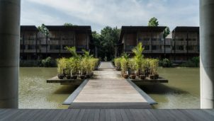 Houses on water a location in Thailand for video production