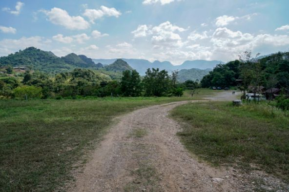 Road towards a forest a location in Thailand for video production