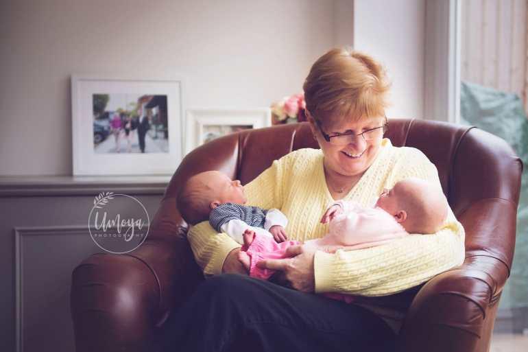 Grandmother with newborn baby twins, Surbiton Surrey