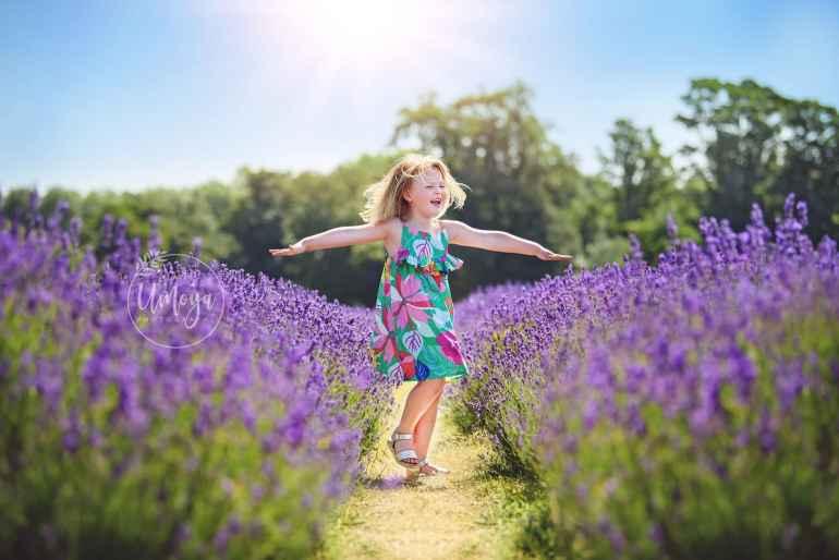 Joy amongst the lavender, taken in Surrey by Horsham photographer - Umoya Photography