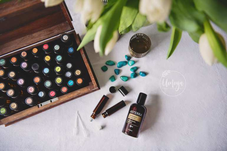 Essential oils flatlay branding photography