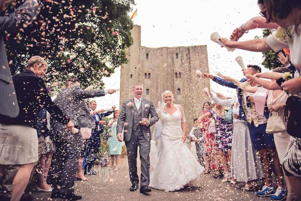 Castle Wedding Confetti Shot - Horsham wedding photographer