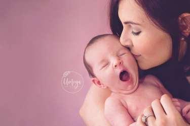 Yawning newborn baby