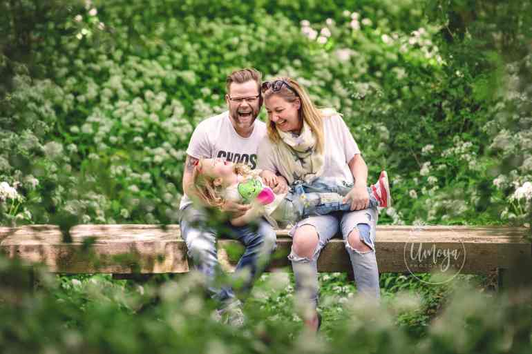 Family in the wild garlic Sussex