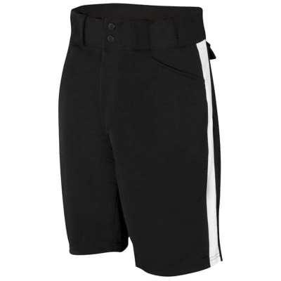 Adams Black w/White Stripes Football Shorts