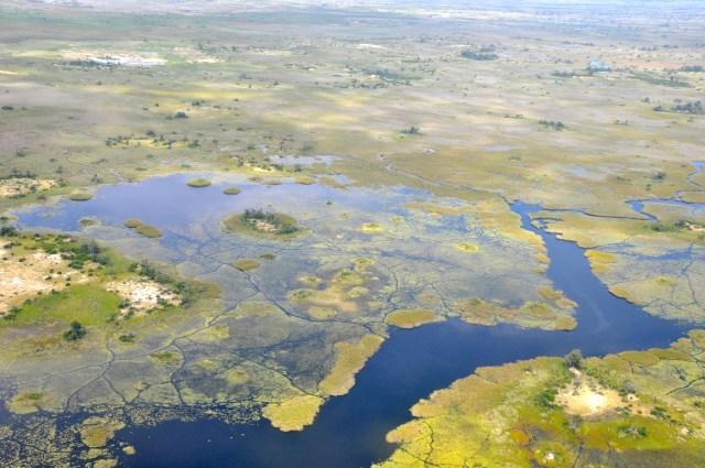 Imagem aérea do Delta do Okavango