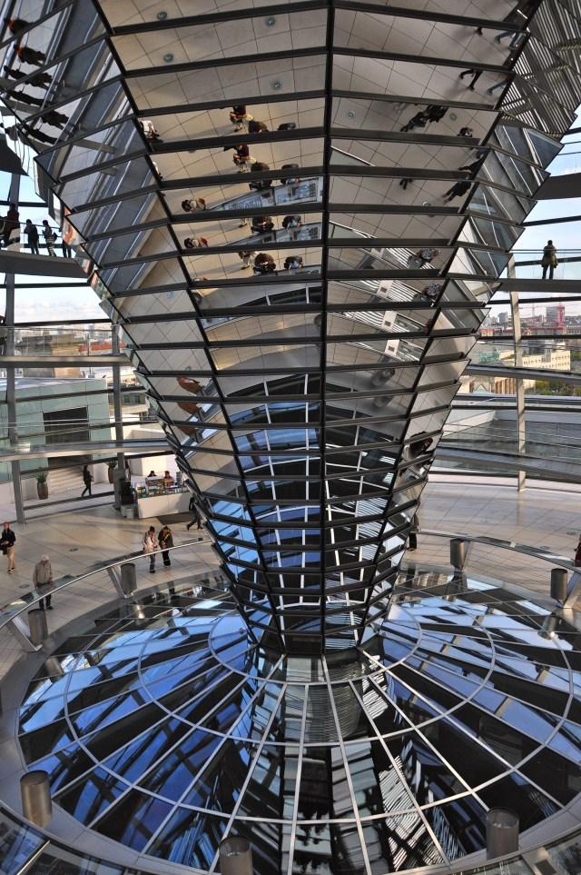 A torre de espelhos do Reichstag.