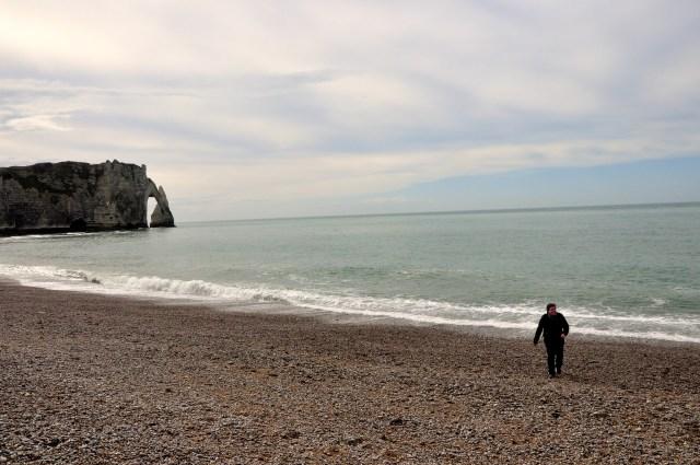 A praia de pedras de Galet.