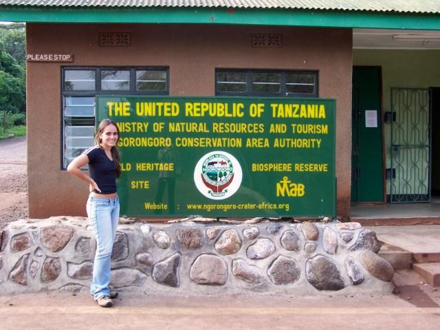 A entrada do Parque Nacional do Ngorongoro no Quênia.