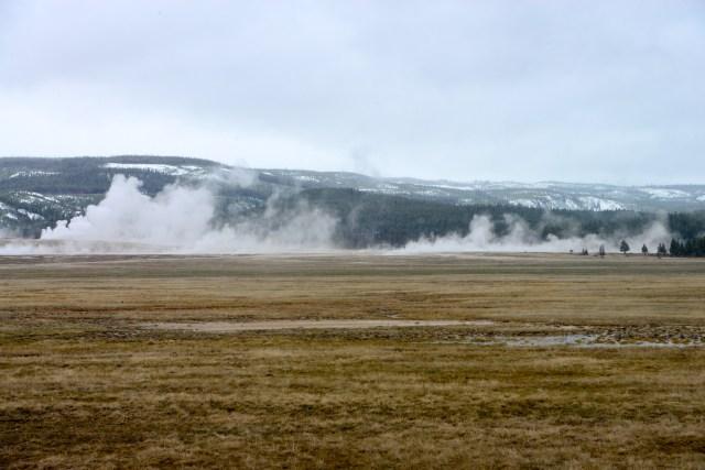 Gêiseres e fumarolas se espalham por toda a área do Parque.