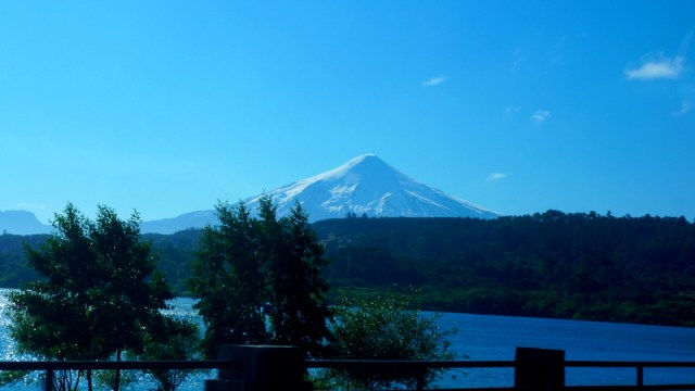 Vista do vulcão Villarrica na estrada Temuco - Pucón