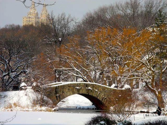 O Central Park em Nova York, após uma tempestade de neve.
