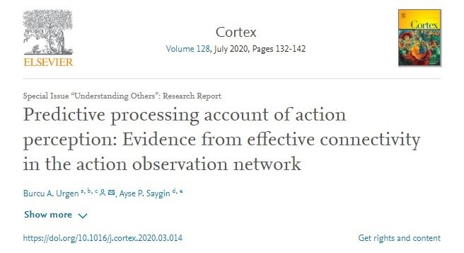 UMRAM'dan Yeni Bir Makale: Predictive processing account of action perception: Evidence from effective connectivity in the action observation network