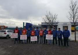Reysaş'ta işten çıkarılan direnişteki işçiler için, Tüvtürk İstasyonlarındaki işçilerden dayanışma eylemi