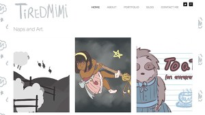 Screenshot of an student artistic portfolio site.