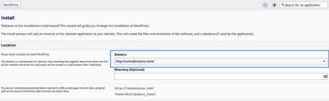 Screenshot of Choosing the Install Location in Installatron