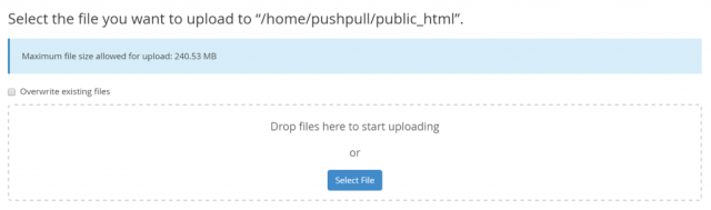 Screenshot of cPanel Upload Box