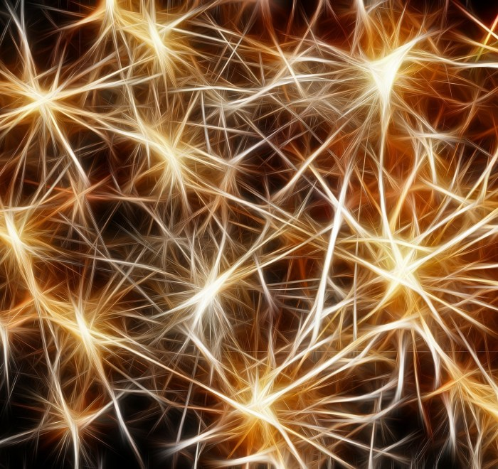 A photo of a representation of neurons; gold stars connected by geralt on Pixabay