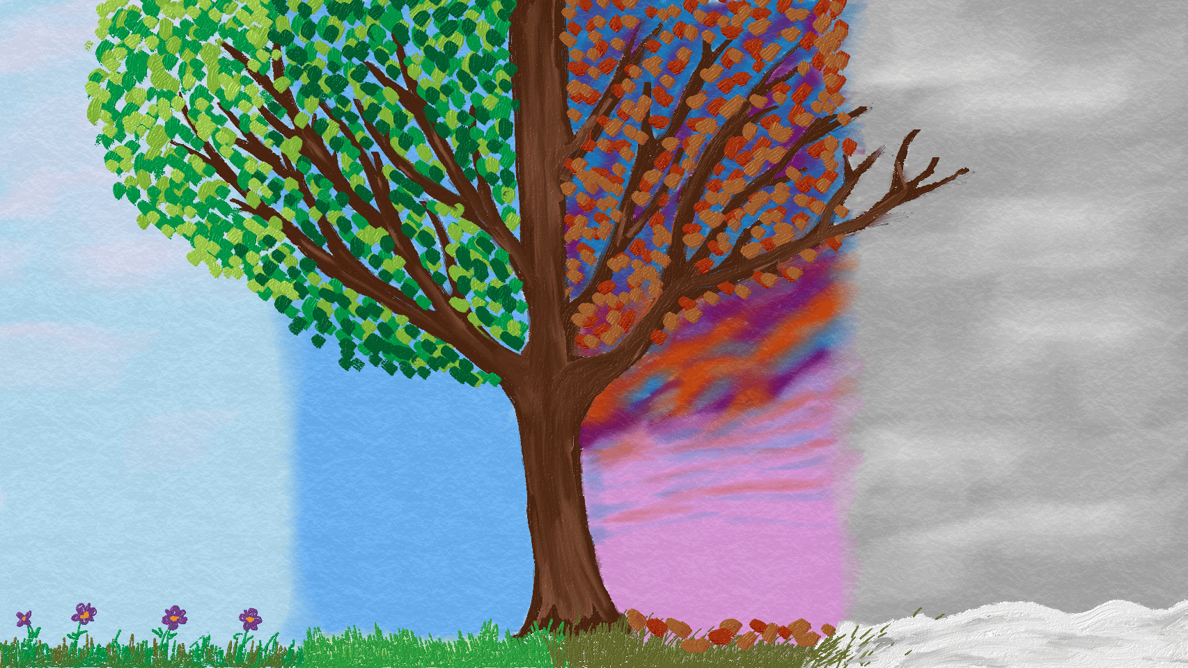 A drawing of the four seasons represented on a tree by Bethany Thomas