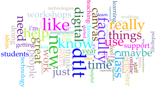 Word cloud of faculty text responses in DTLT survey 2017