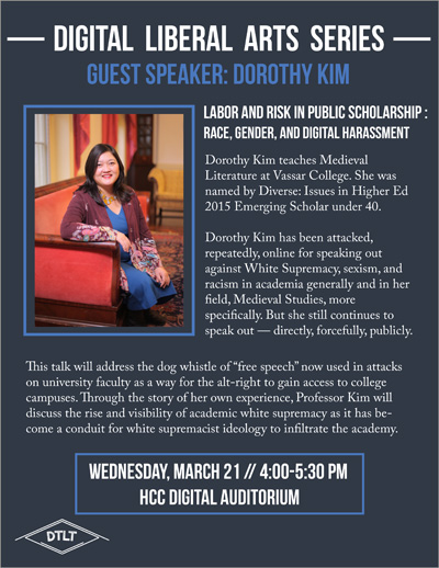 A poster for Digital Liberal Arts speaker, Dorothy Kim