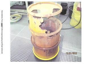 Atomüllfass aus dem AKW Brunsbüttel - immer mehr Fässer mit Rost-Befunden tauchen auf. Foto: Energieministerium SH