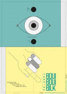 BouiBouiBilk Veranstaltungsfolder, illustriert, Auge, Hand,