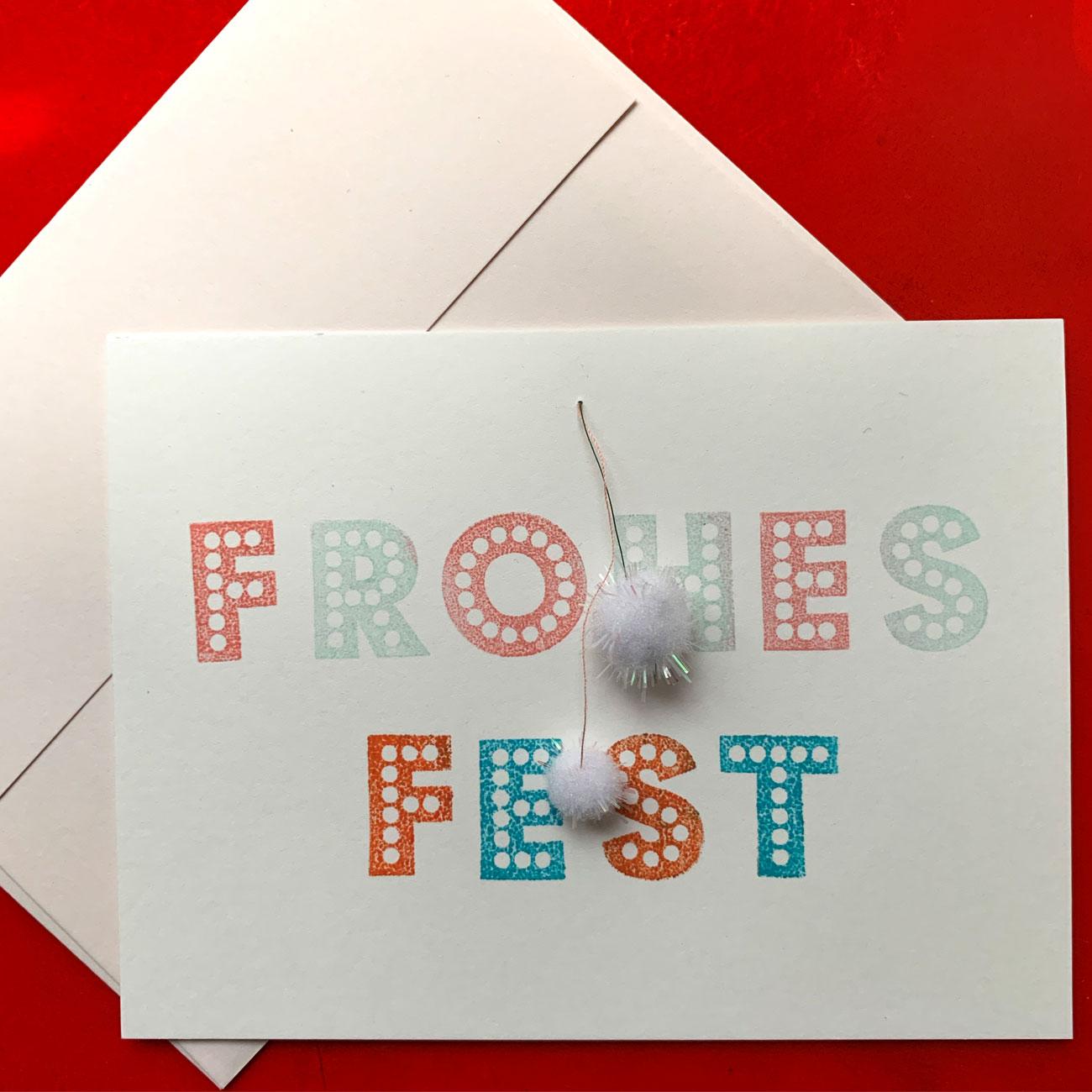 Frohes Fest, Klappkarte mit 2 Bommeln, mit Kuvert, festlich,