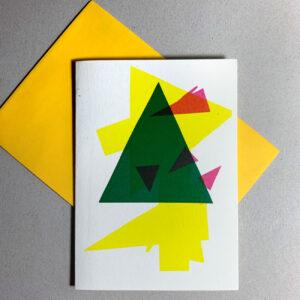 Klappkarte grafischer Baum, farbige Flächen, gelbes Kuvert