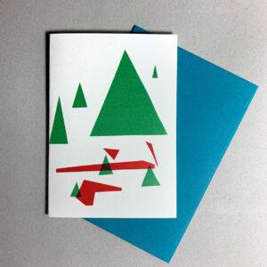 Kuvert in Blau, Klappkarte grafischer Baum, Dreiecke,