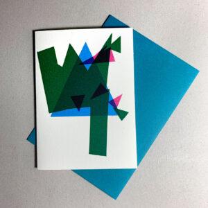 Klappkarte grafischer Baum, grün, magenta, cyan, mit Kuvert