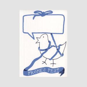 Postkarte, Senor Burns, Frohes Fest, Strichzeichnung Vogel, Blaues Band,