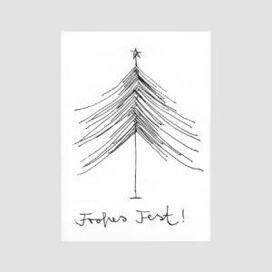 Postkarte, Senor Burns, Frohes Fest! Weihnachtsbaum gezeichnet, schwarzweiß,