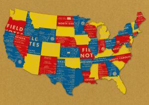 Landkarte der USA, aus Field Notes, County Fair, Heftteilen,