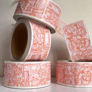 Klebeband, aufgetürmt, illustriertes Motiv, orange,