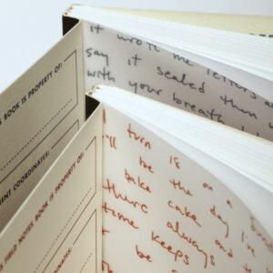 Field Notes, Maggie Rogers, Notizhefte, Lyrics auf Vorsatzpapier