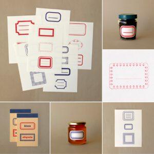 Serrote, Abreißblock mit Etiketten, rot, blau, buchdruck