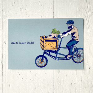 9 LIVES DESIGN - Postkarte BIKE TO FARMER'S MARKET