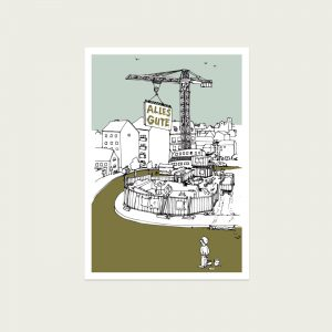 UMWERK - Postkarte ALLES GUTE, gezeichnet, illustriert, coloriert,