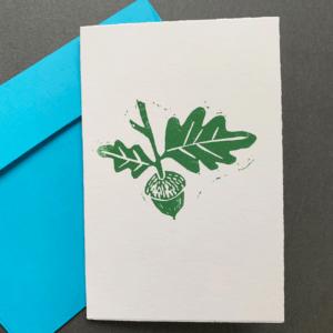 ELSIE WONG - Klappkarte EICHELN grün