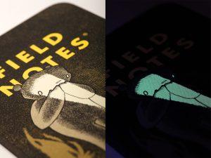 Detail, Licht aufgeladene Druckfarbe, Notizheft, Field Notes,