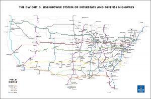 Field Notes, Highway Map, Übersicht, Straßen der USA,
