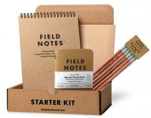 Starter Kit, Field Notes, Box mit Notizheften, Block, Stiften,