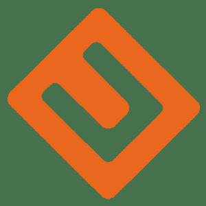 Umwerk, Logo, orange, U in abgerundetem Quadrat,
