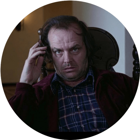 Jack Nicholson in The Shining, looking quite stressed out