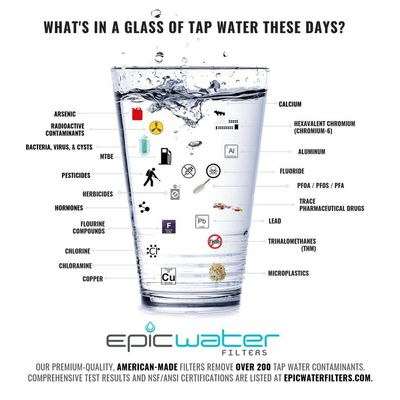 many toxins in glass of water