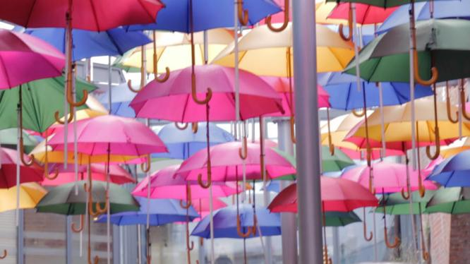 """Hidden within the winding streets around Borough Market is this colorful art installation, appropriate for a city that's typically rainy. Per Time Out Magazine """"it was installed during the Olympics for reasons that remain unclear."""" To find it google 'Del Mercato Borough Market.'"""