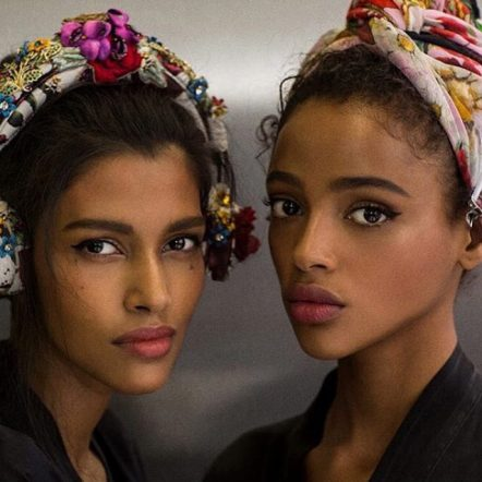 Pooja Amor and Ayana Jones make a case for headwraps with floral printed and embellished scarves.